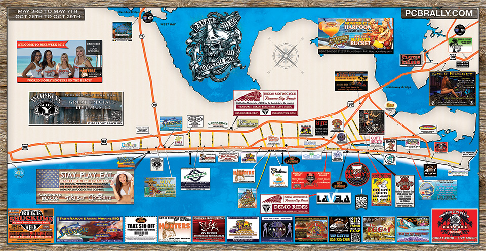 2017 Panama City Beach Motorcycle Rally® Map - Your guide to the best on the Beach!