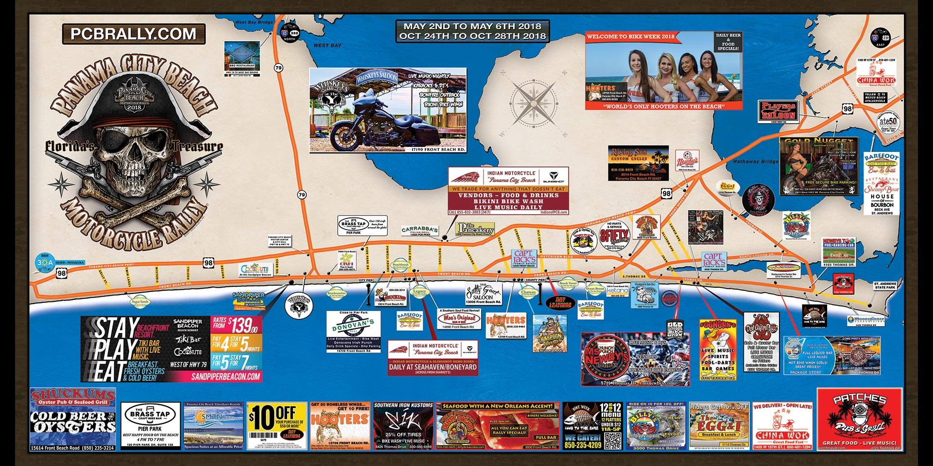2018 Panama City Beach Motorcycle Rally Map